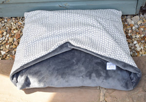 Grey Spotty Doggy Den Bed