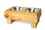 Rustic Wood Dog Feeding Station