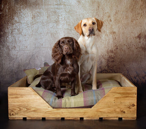 High Sided Rustic Wooden Dog Bed