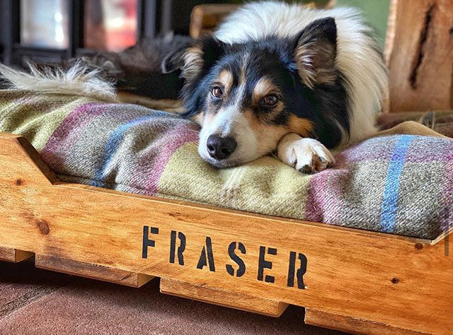 Raised Rustic Wooden Dog Beds