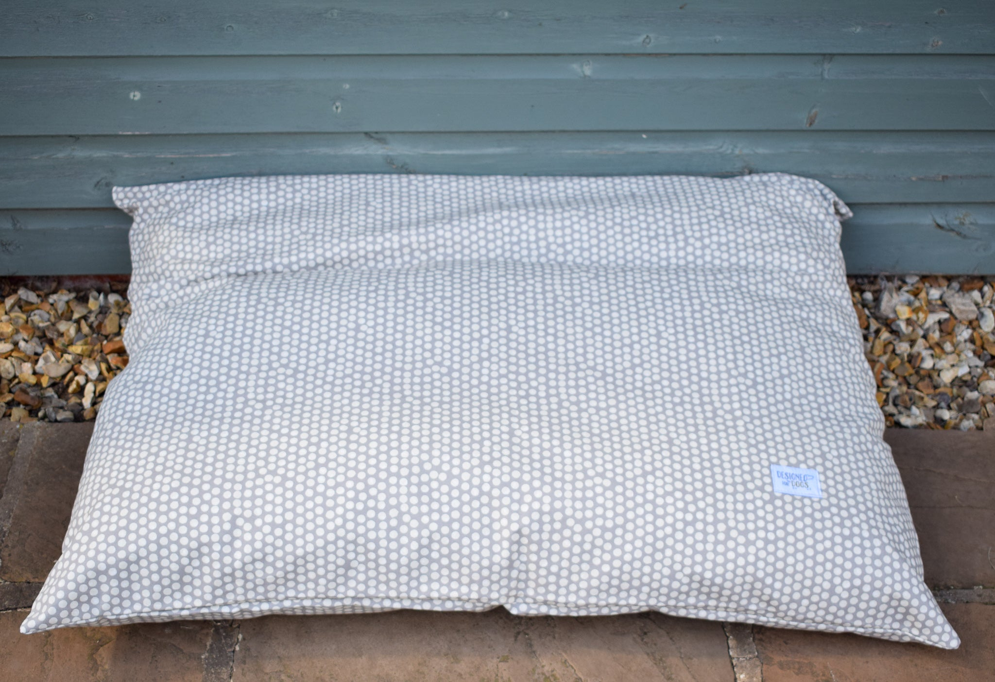 New! Spotty Pillow Dog Bed in Grey, Ochre and Sage