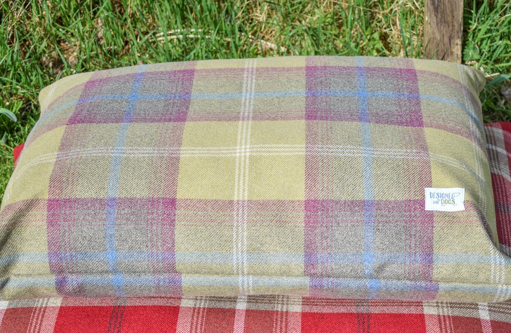 Pistachio Tartan Pillow Dog Bed