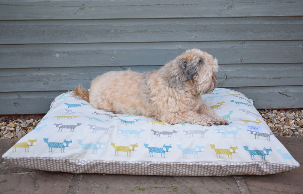 New! Fox Pillow Dog Bed in Orange, and Teal