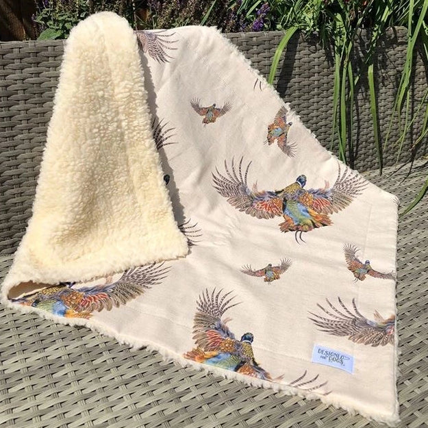Breaking Cover (Pheasant) Natural Linen Dog Blanket