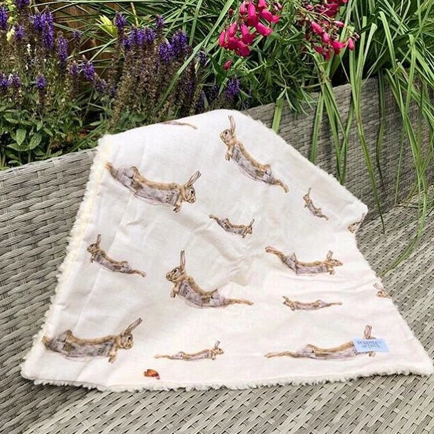 Olive (Hare) Natural Linen Dog Blanket