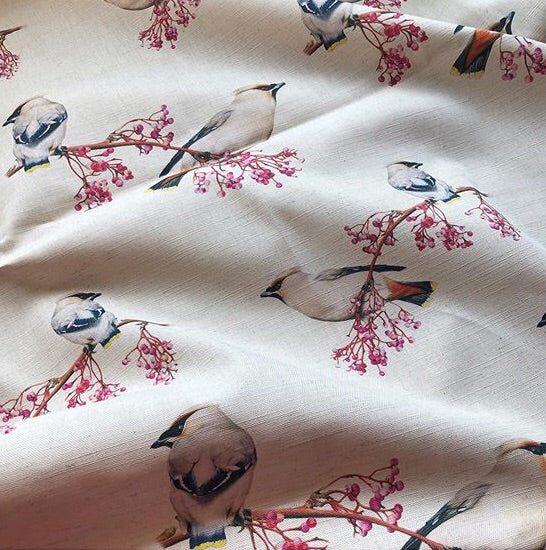 'Waxwing' on Natural Linen