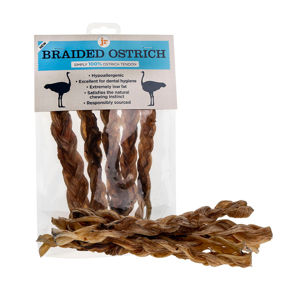 Braided ostrich tendon long-lasting dog chew
