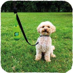 The Pod poo bag dispenser clip onto a lead