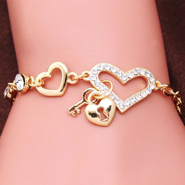 Romantic CZ Crystal Heart Bracelets Gold Color