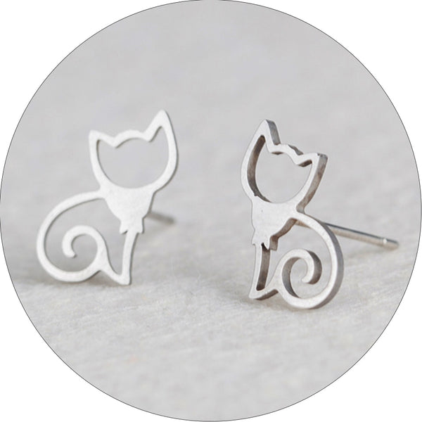 Cat stainless steel stud earring