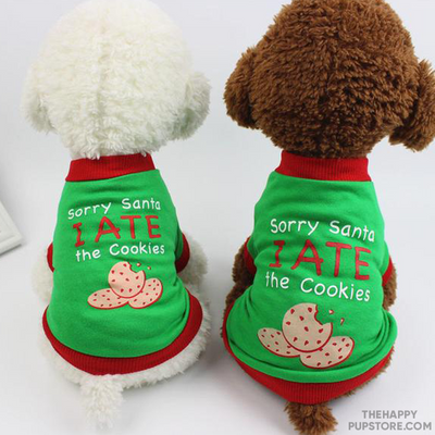 Sorry Santa I Ate The Cookies Dog T-Shirt