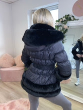 Load image into Gallery viewer, NOELLA Hooded Faux Fur Coat Black