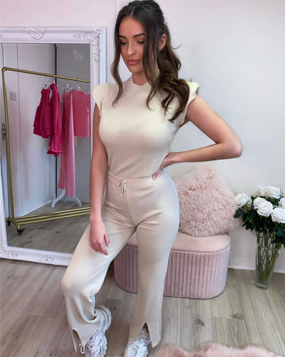 Padded Shoulder Two Piece Latte