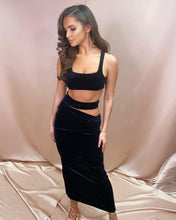 Load image into Gallery viewer, Aliya Black Velvet Cut Out Co Ord