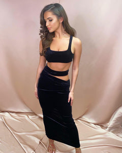 Aliya Black Velvet Cut Out Co Ord