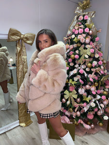 Premium Faux Fur Hooded Coat Toffee
