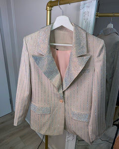 LIMITED EDITION Pink Diamanté Detailed Blazer