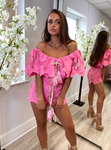LUXE Bardot Lace Two Piece Pink
