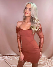 Load image into Gallery viewer, Rust Mesh Off Shoulder Sleeve Mini Dress