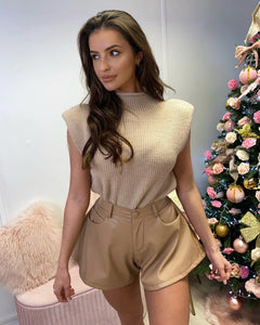 Knit Padded Shoulder Top Camel