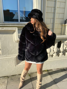 Premium Faux Fur Jet black