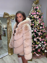 Load image into Gallery viewer, Premium Faux Fur Hooded Coat Toffee
