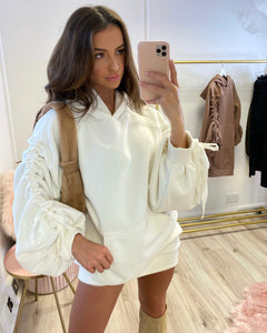 Ruched Sleeve Hoodie Dress Ivory
