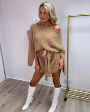 Load image into Gallery viewer, Belted Knit Dress Tan