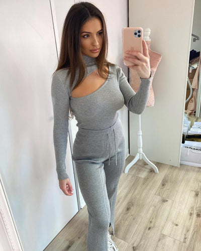 Ribbed Lounge Two Piece Set Grey