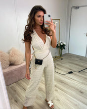 Load image into Gallery viewer, Crochet Halter Jumpsuit Beige
