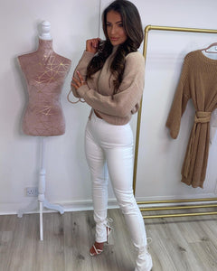 Faux Leather Split Leg Trousers White