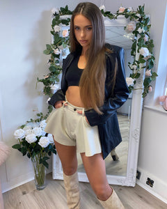 Faux Leather Shorts Cream