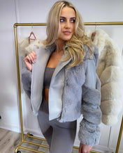 Load image into Gallery viewer, Sasha Faux Fur Trim Biker Jacket Grey