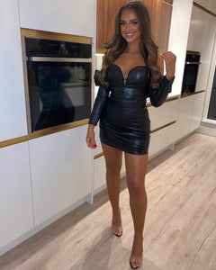 Alexa Leather Puff Sleeve Dress