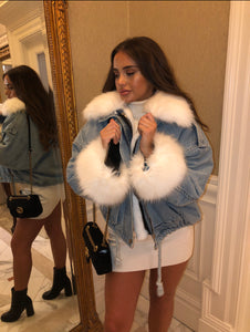 Fur Lined Blue Denim Jacket