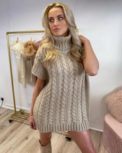 Load image into Gallery viewer, Turtle Neck Sleeveless Jumper Dress Mocha