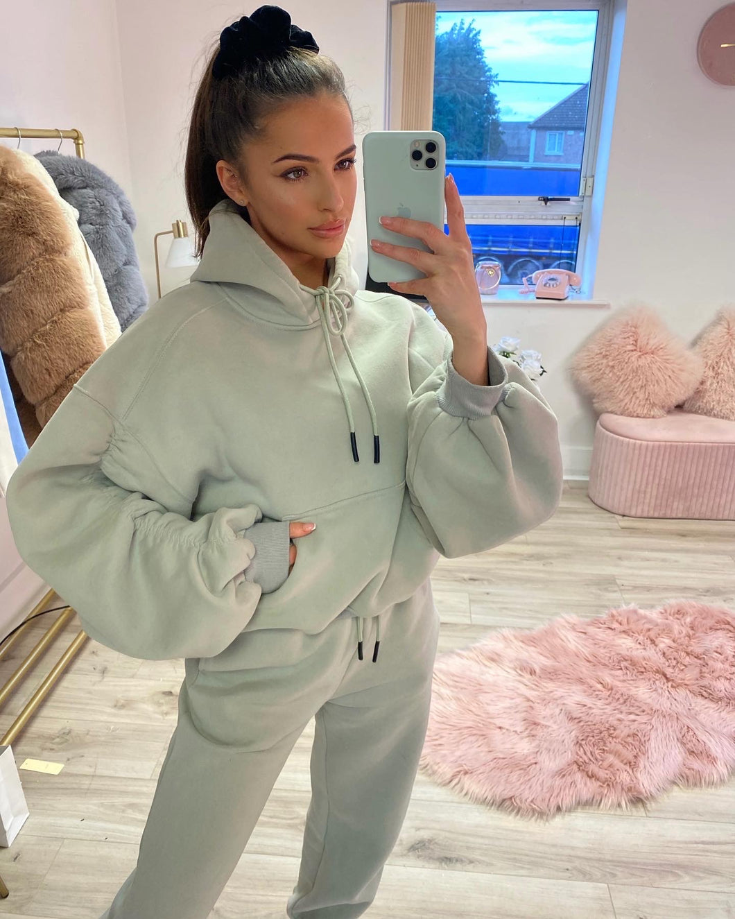 Marble Ruched Sleeve Tracksuit