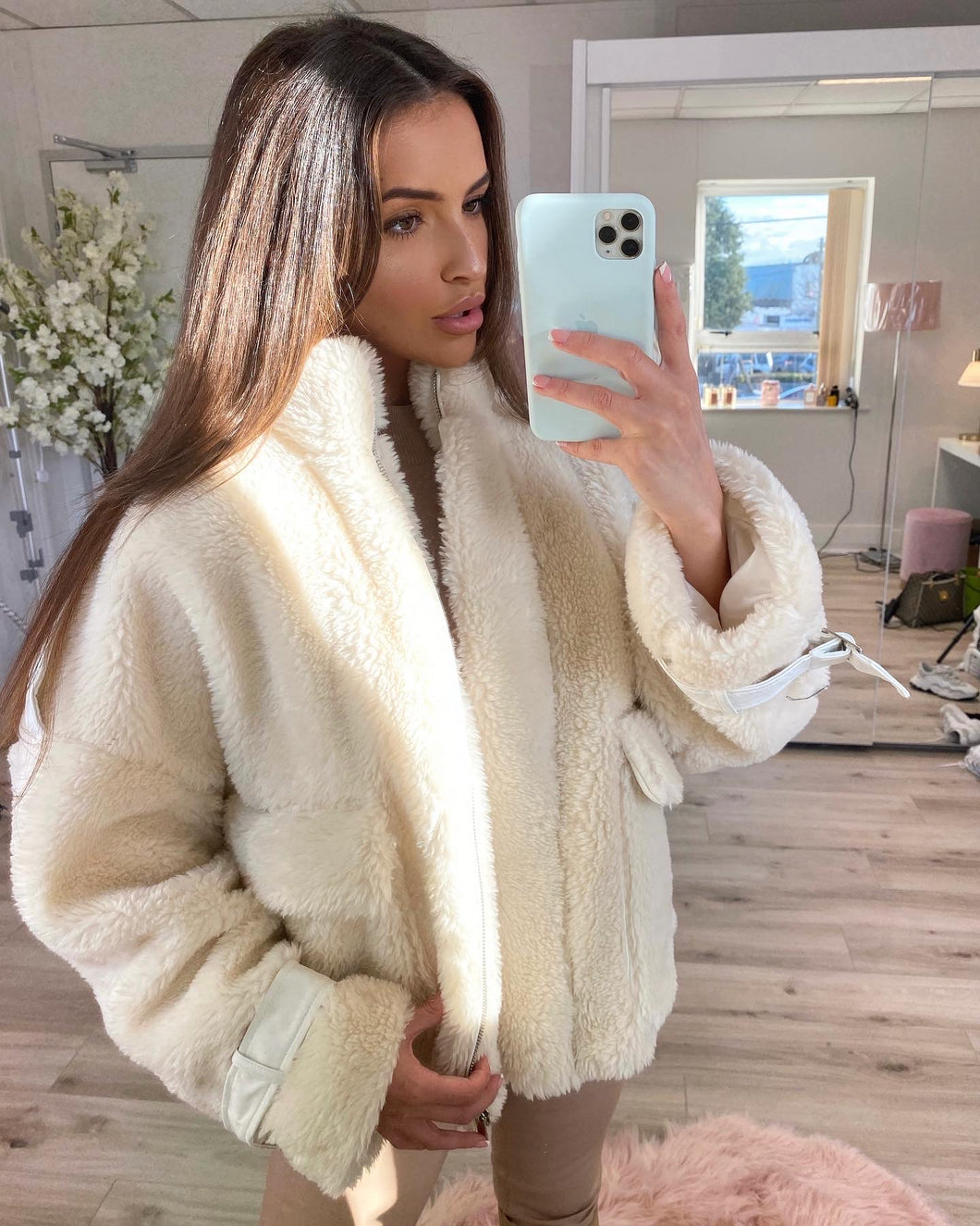 Oversized Teddy Jacket Cream