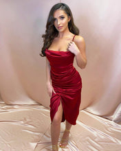 Load image into Gallery viewer, Wine Satin Draped Corset Dress
