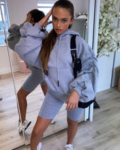 Load image into Gallery viewer, Oversized Ruched Sleeve Hoodie Grey
