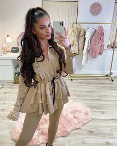 Frilled Lounge Set Taupe