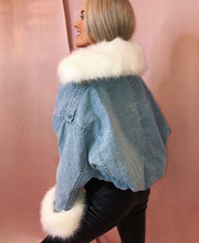 Load image into Gallery viewer, Fur Lined Blue Denim Jacket