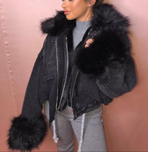 Load image into Gallery viewer, Fur Lined Grey Denim Jacket