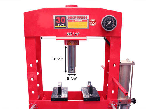 DYNAMO 30 Ton Air/Hydraulic Shop Press heavy duty H-frame operated by  either hydraulic hand pump lever or pneumatic pump handle