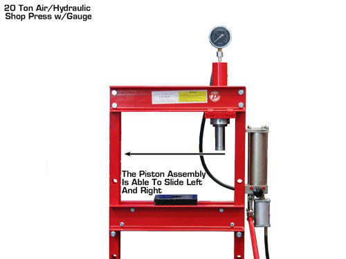 DYNAMO 20 Ton Air/Hydraulic Shop Press w/Gauge heavy duty H-frame operated  with either the hydraulic hand pump lever or pneumatic pump