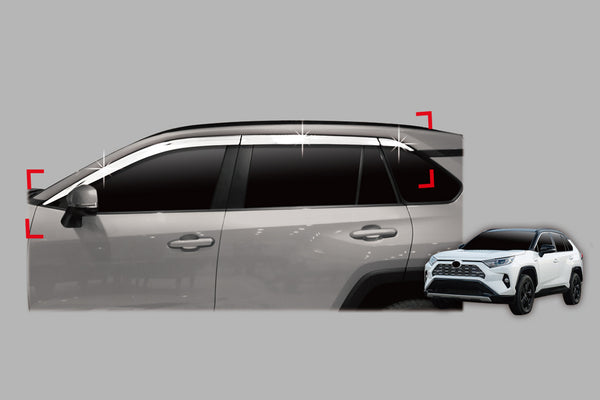 Auto Clover Chrome Wind Deflectors Set for Toyota Rav 4 2019+ (6 pieces)