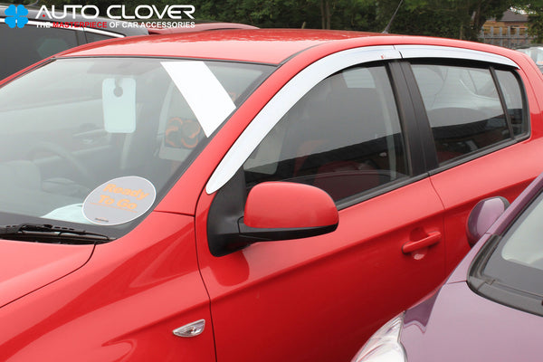 Auto Clover Chrome Wind Deflectors Set for Hyundai i20 2008 - 2014  (4 pieces)