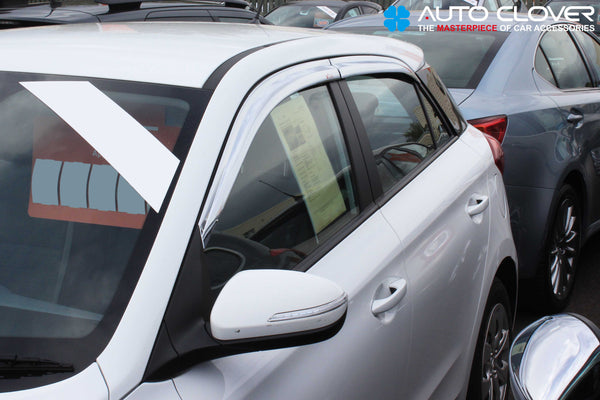 Auto Clover Chrome Wind Deflectors Set for Hyundai i20 2015 - 2019 (4 pieces)