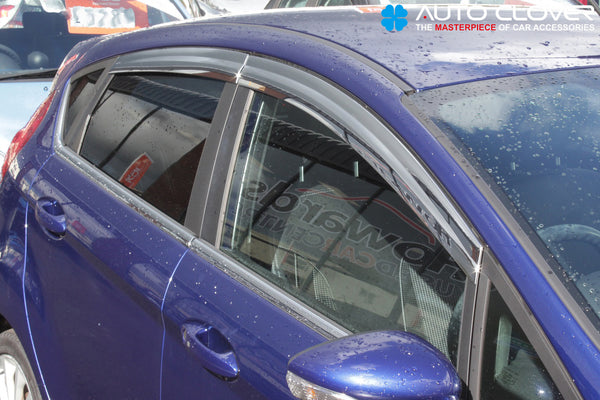 Auto Clover Chrome Wind Deflectors Set for Ford Fiesta MK7 2009 - 2017 5 Door