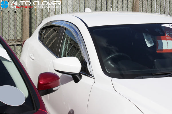 Auto Clover Chrome Wind Deflectors Set for Mazda 3 2014 - 2018 (4 pieces)